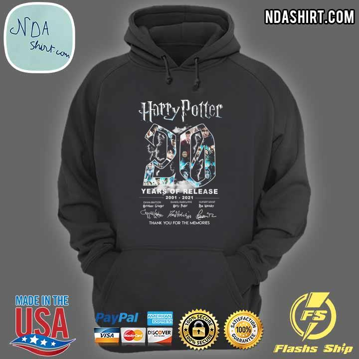 Harry Potter 20 Year Of Release 2001 - 2021 Signatures Thank You For The Memories Shirt hoodie