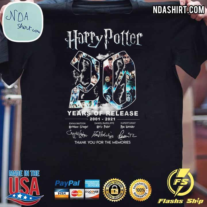 Harry Potter 20 Year Of Release 2001 - 2021 Signatures Thank You For The Memories Shirt