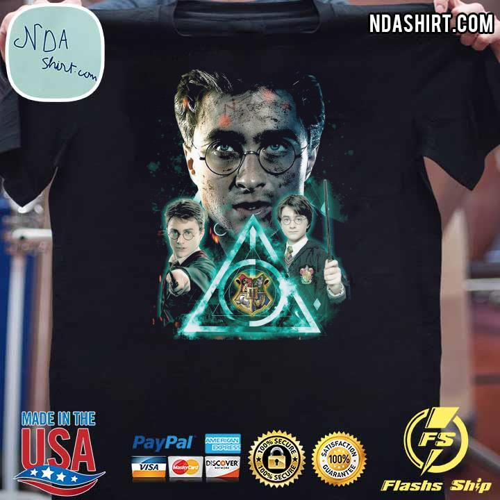 Harry Potter And The Deathly Hallows Symbol Blue Effect Shirt
